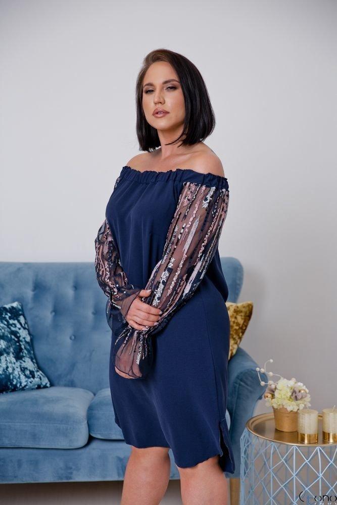 Granatowa Sukienka MADAME Plus Size