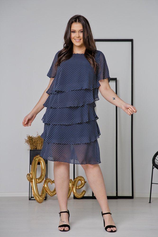 Granatowa Sukienka ORINA Plus Size w groszki