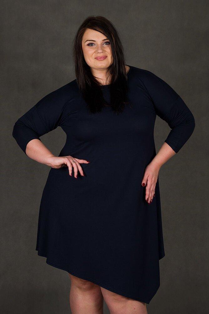 Granatowa Sukienka Plus Size MELISSA Asymetryczna