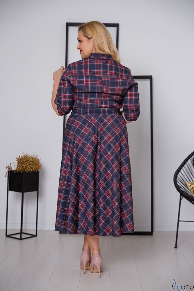 Granatowa Sukienka RAVELA Plus Size