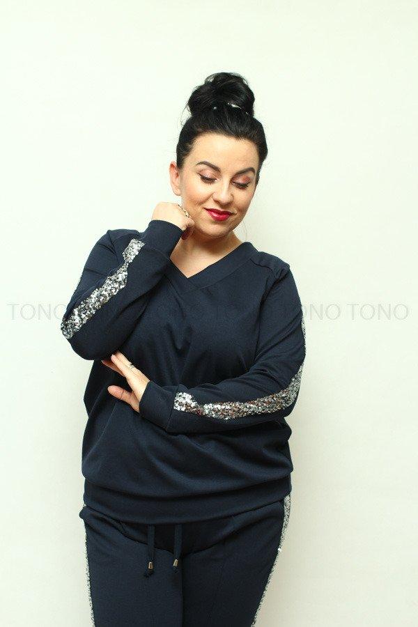 Granatowa bluza dresowa damska NEVA2 z cekinowym lampasem duże rozmiary