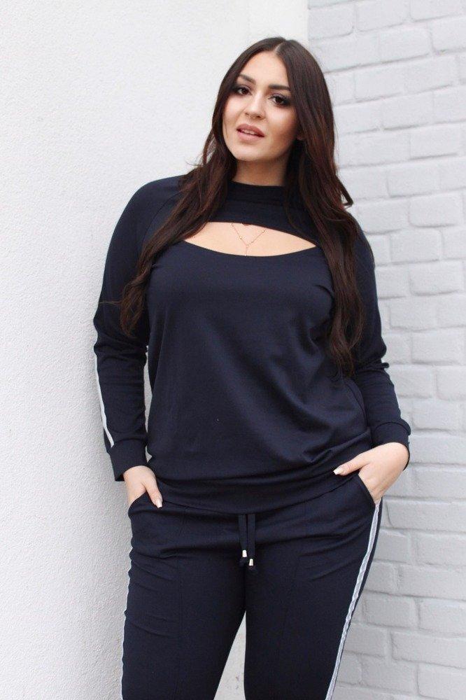 Granatowa bluza dresowa damska NEVA3 z lampasem Plus Size
