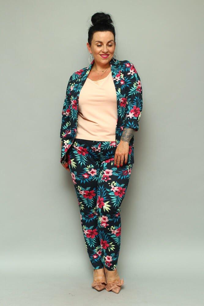 Granatowe Spodnie VEDRE Casual Plus Size