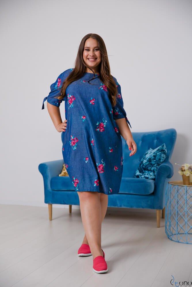 Jeansowa Sukienka KARPATIA Plus Size Wzór 1