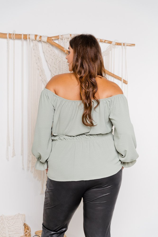 Khaki bluzka OLEXIA Plus Size