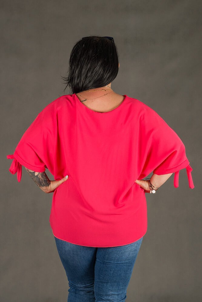 Koralowa BOW bluzka damska oversize plus size