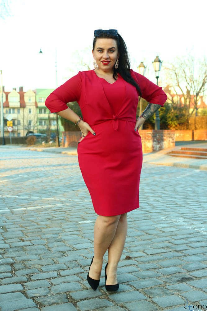 Koralowa Sukienka DEVINA Plus Size