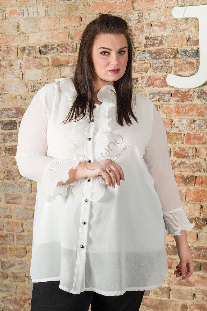 Koszula damska LOVRES Żabot Plus Size Ecru