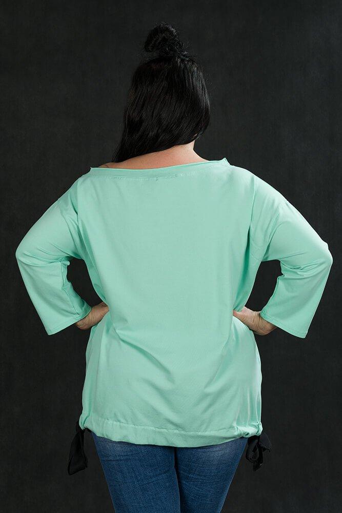 Miętowa Bluzka ZAPOS Wiązana Plus Size