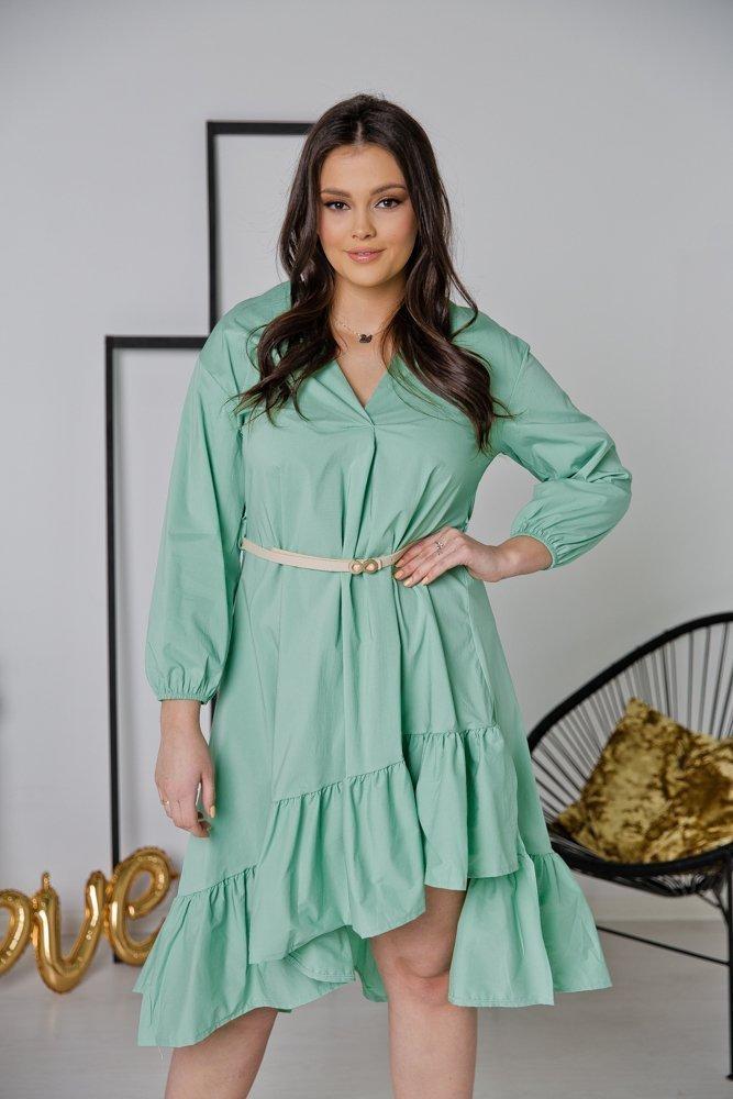 Miętowa Sukienka LORA Plus Size