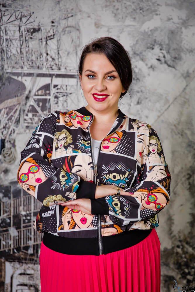 Multikolorowa Bomberka Plus Size kurtka damska PRIMAVERA