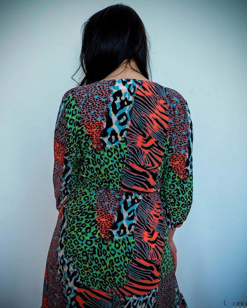 Multikolorowa Sukienka ELICCIA Plus Size