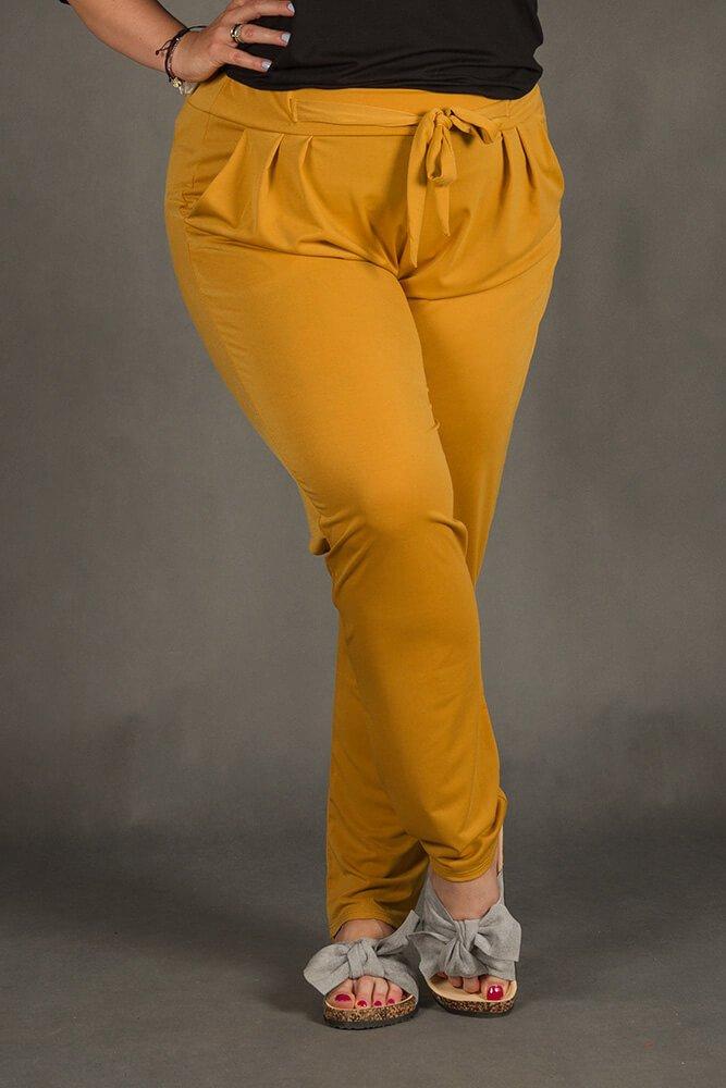 Musztardow Spodnie SPOKEY Zwiewne Plus Size
