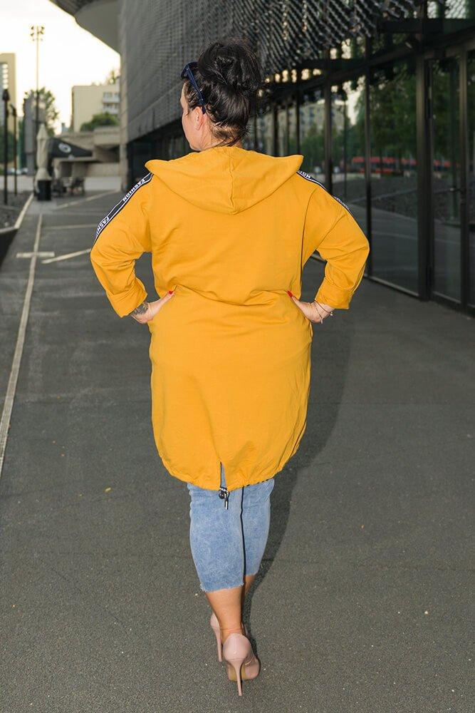 Musztardowy Kardigan AGENZA Plus Size