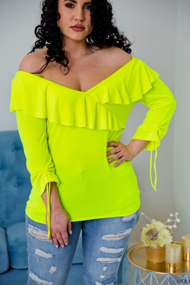 Neonowo-żółta Bluzka Filona Plus Size