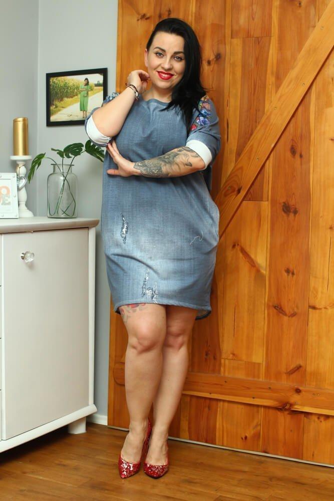 Niebieska Sukienka FOLK Plus Size jeans