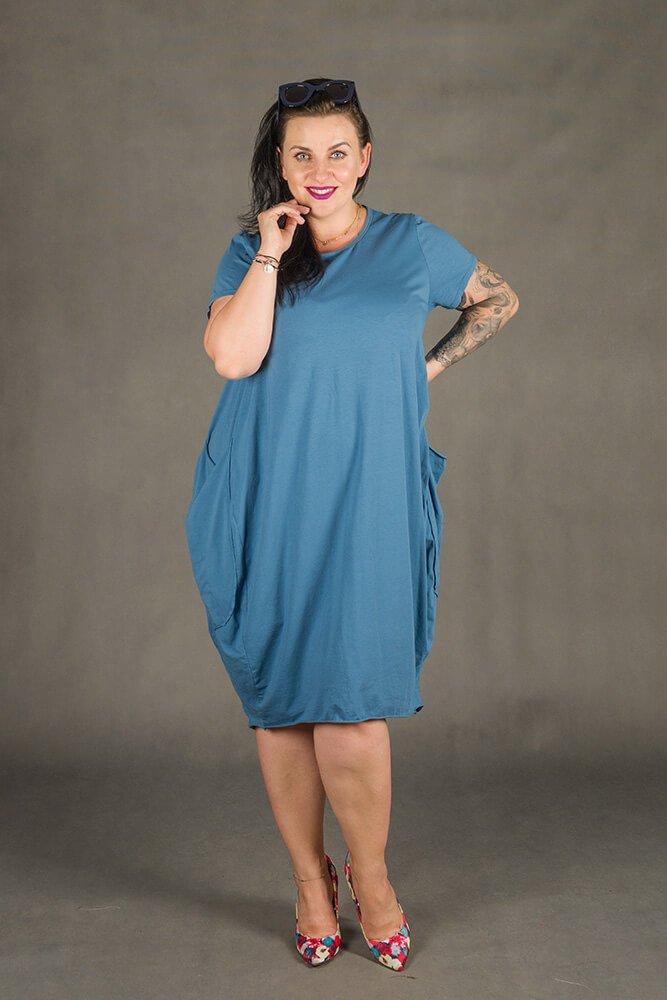 Niebieska Sukienka GALOPPE Plus Size