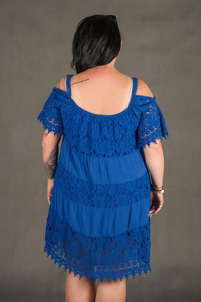Niebieska Sukienka KLEO Koronka Plus Size
