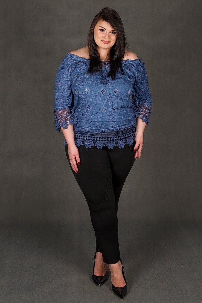 Niebieska bluzka damska CORONA Koronka Plus Size