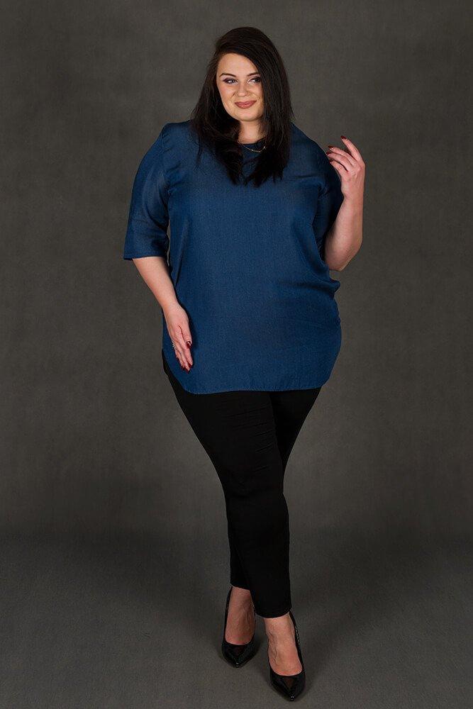 Niebieska bluzka damska duże rozmiary PORTORYKO