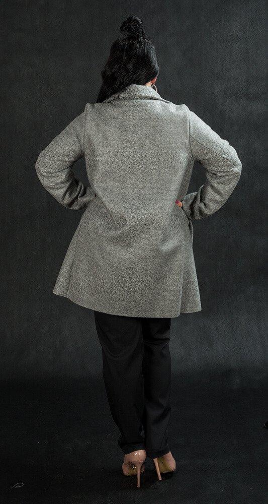 Płaszcz LIBRA Plus Size Rozkloszowany Szary