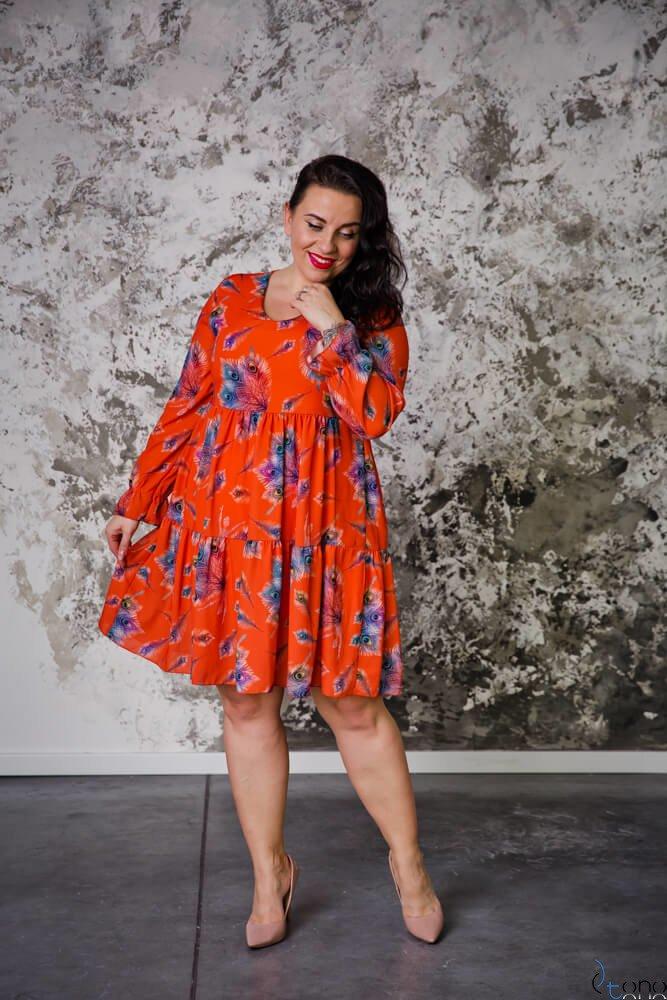 Pomarańczowa Sukienka MERYLYN Falbany Plus Size