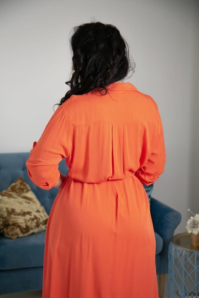 Pomarańczowa Sukienka RAMIRA Plus Size Szmizjerka