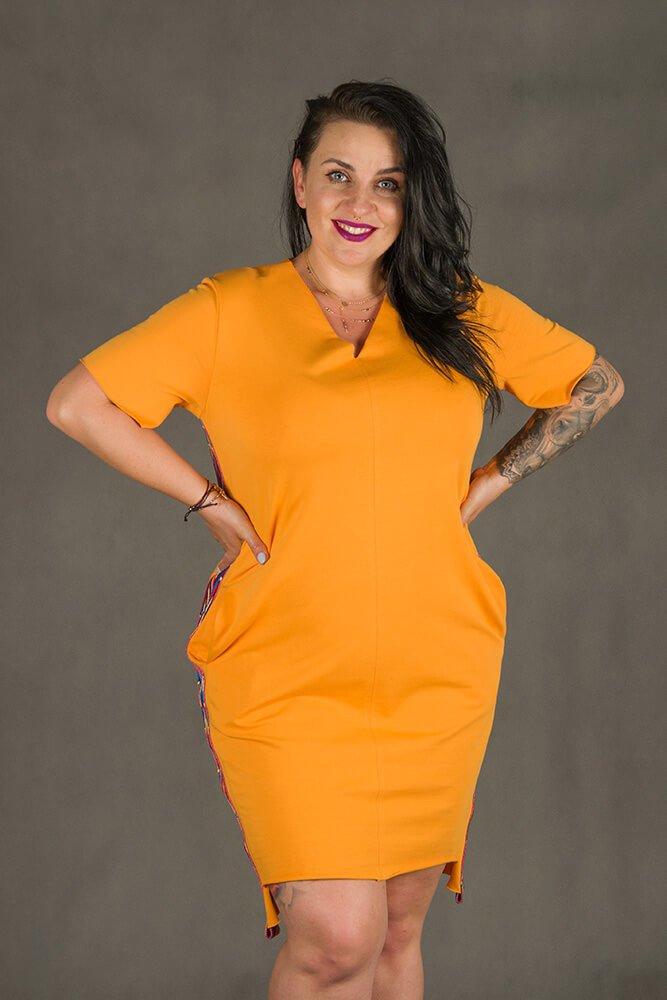 Pomarańczowa Sukienka TAPE Plus Size