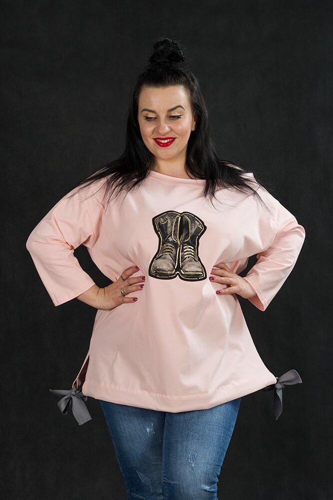 Różowa Bluzka ZAPOS Wiązana Plus Size