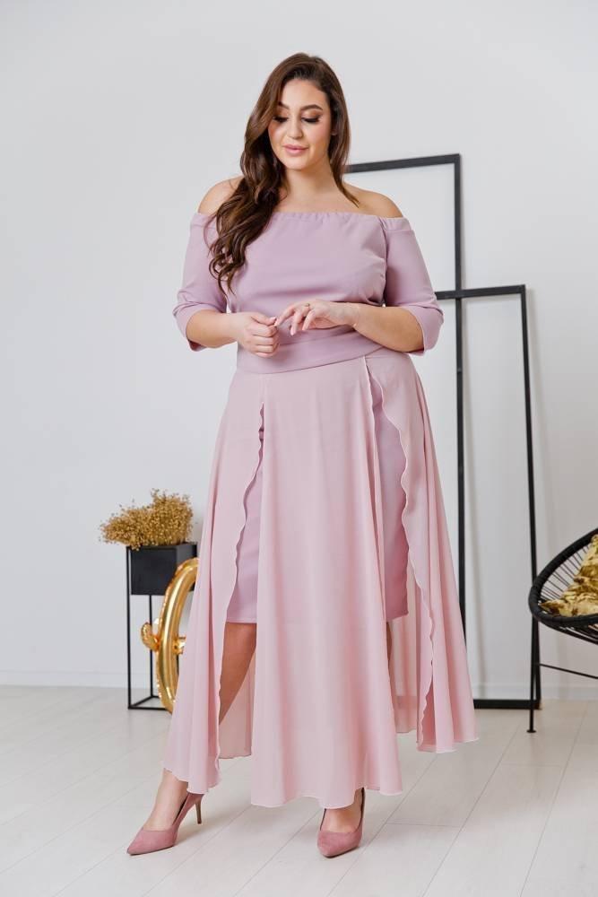 Różowa Sukienka FAVERA Plus Size