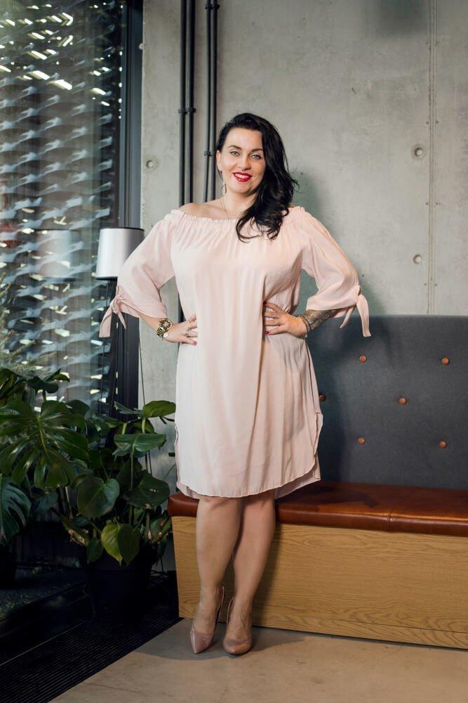 Różowa Sukienka VALENCIA Hiszpanka Plus Size