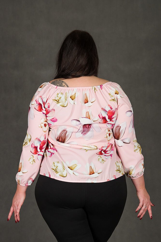 Różowa bluzka damska JARDIN Kwiaty Plus Size