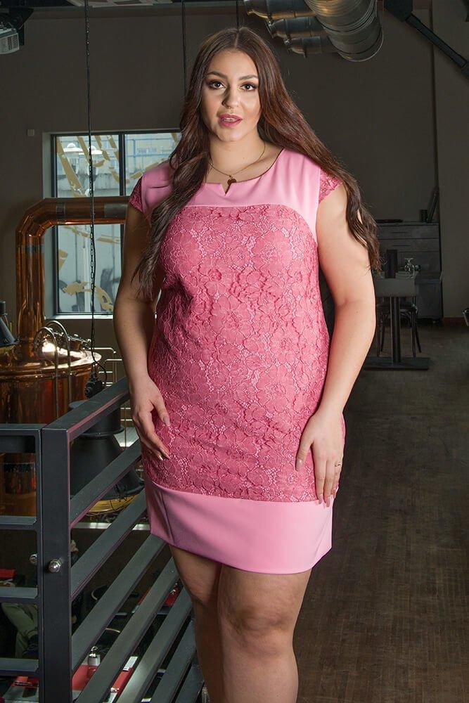 Różowa sukienka koronkowa RALL Duże rozmiary