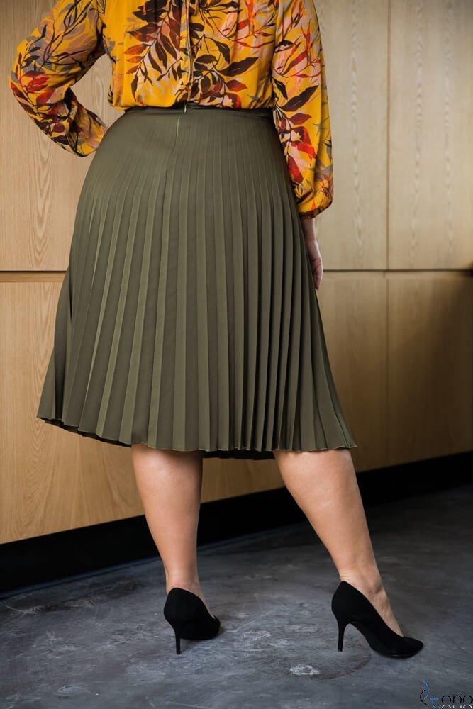 Spódnica CARAMELLA Plisowana Plus Size KHAKI