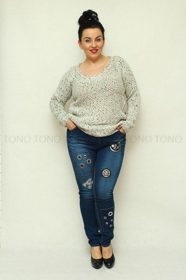 Spodnie damskie jeansowe CORTINA naszywki Rozciągliwe Plus Size