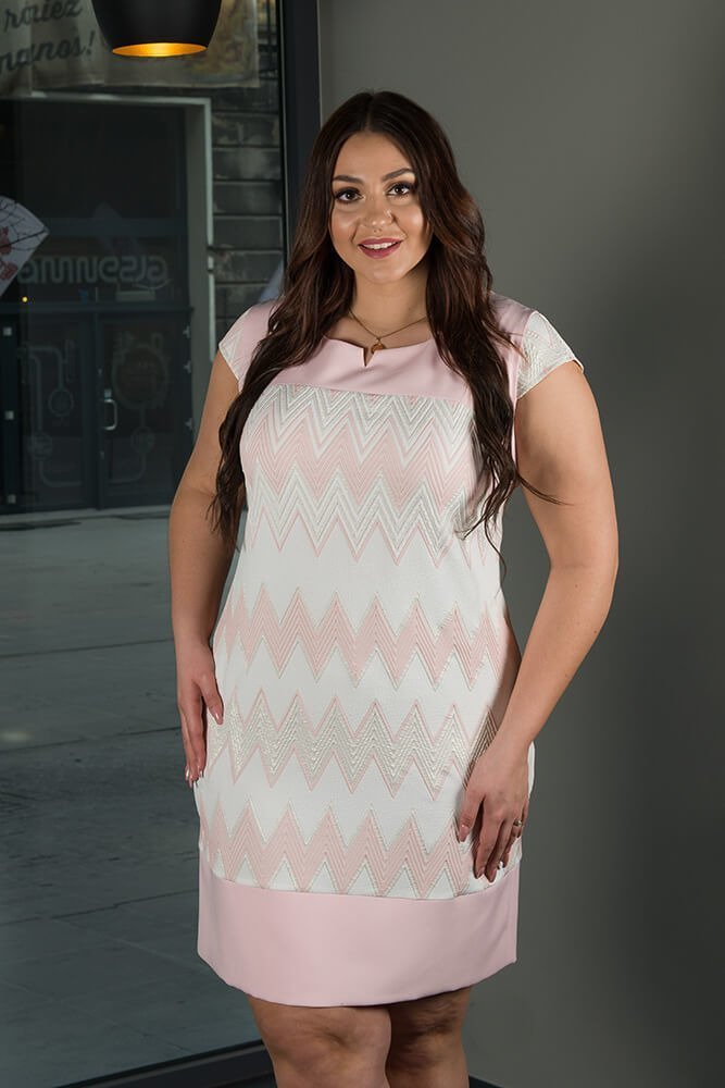 Sukienka Wizytowa LATIKA Plus Size zygzaki wzór 2