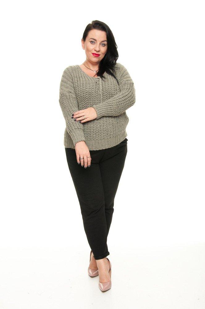 Sweter FILO Oversize Ciepły Dekolt KHAKI plus size