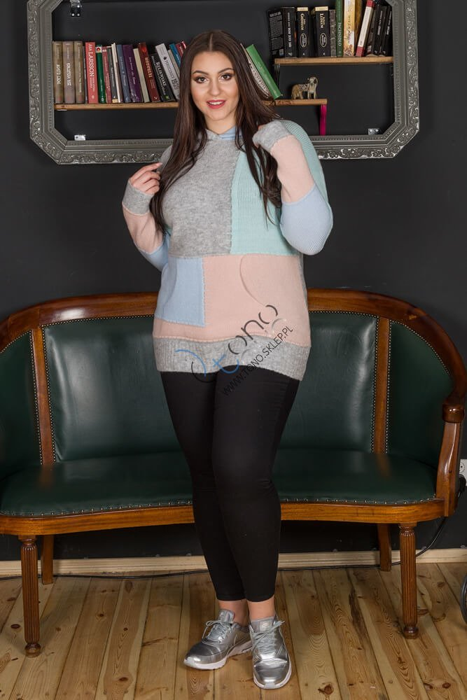 Sweter damski CITTY Unikalny Plus Size wzór 1
