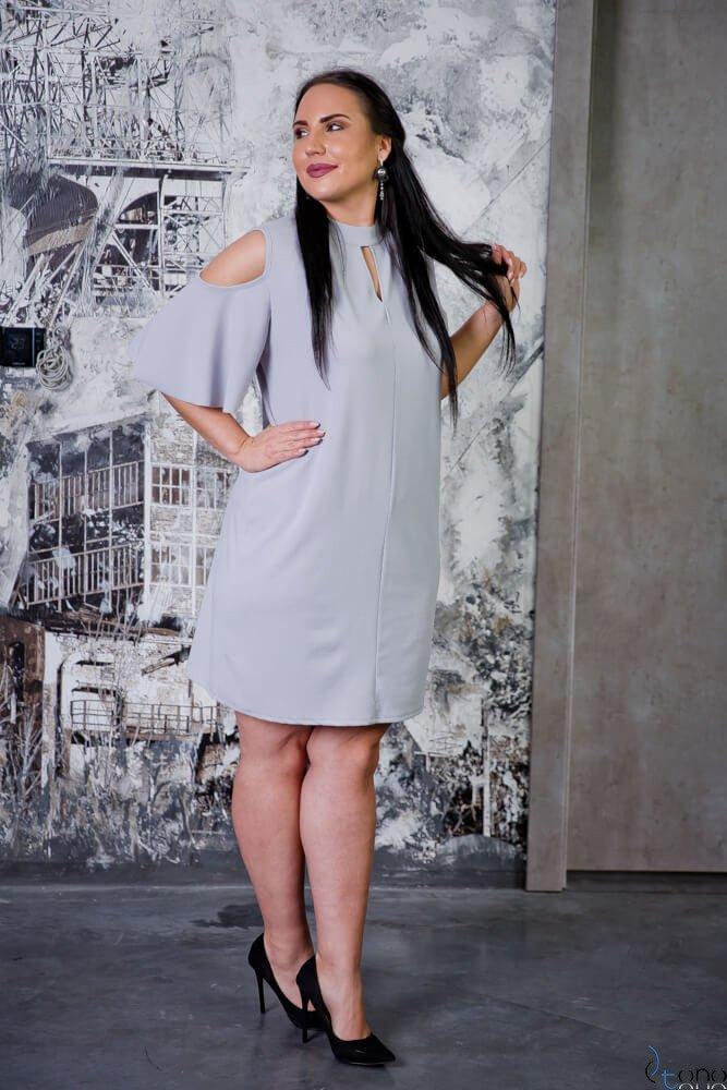 Szara Sukienka ABRAZZA Plus Size