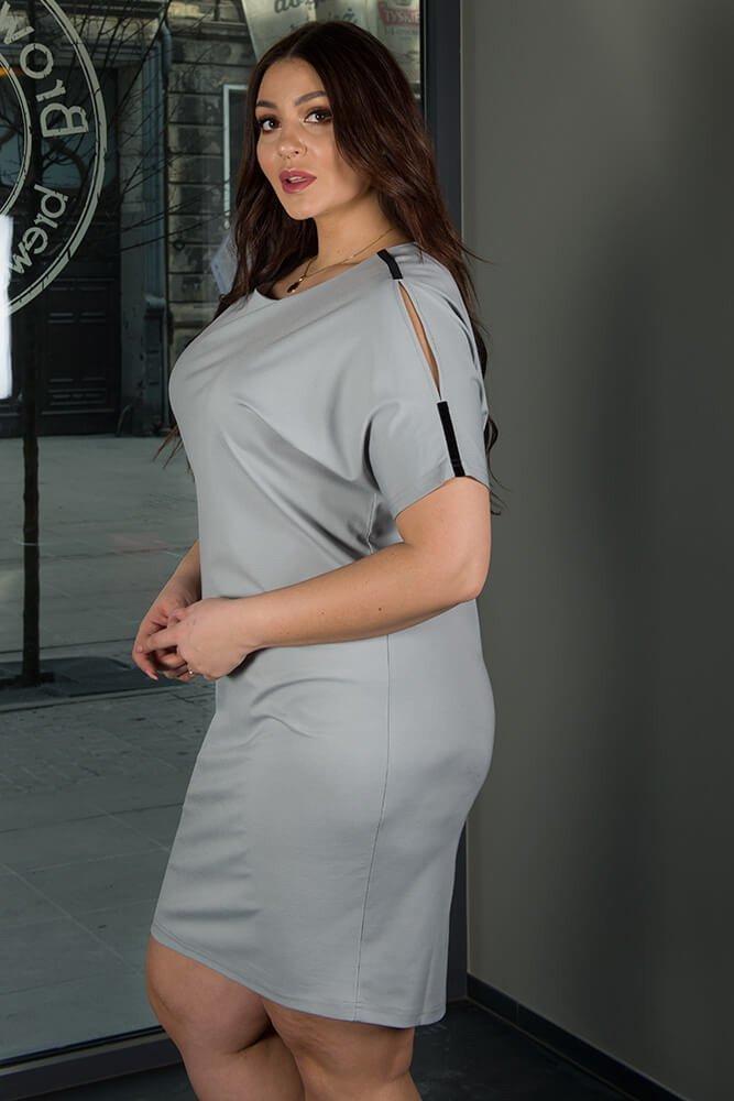 Szara Sukienka ANASTAZJA duże rozmiary