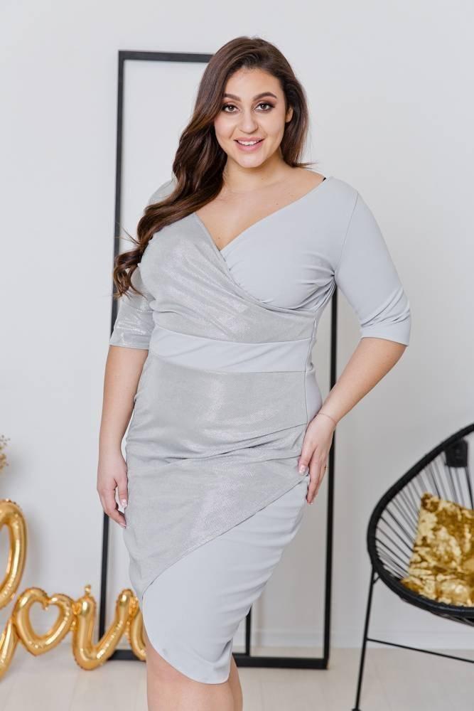 Szara Sukienka DRIMA Plus Size