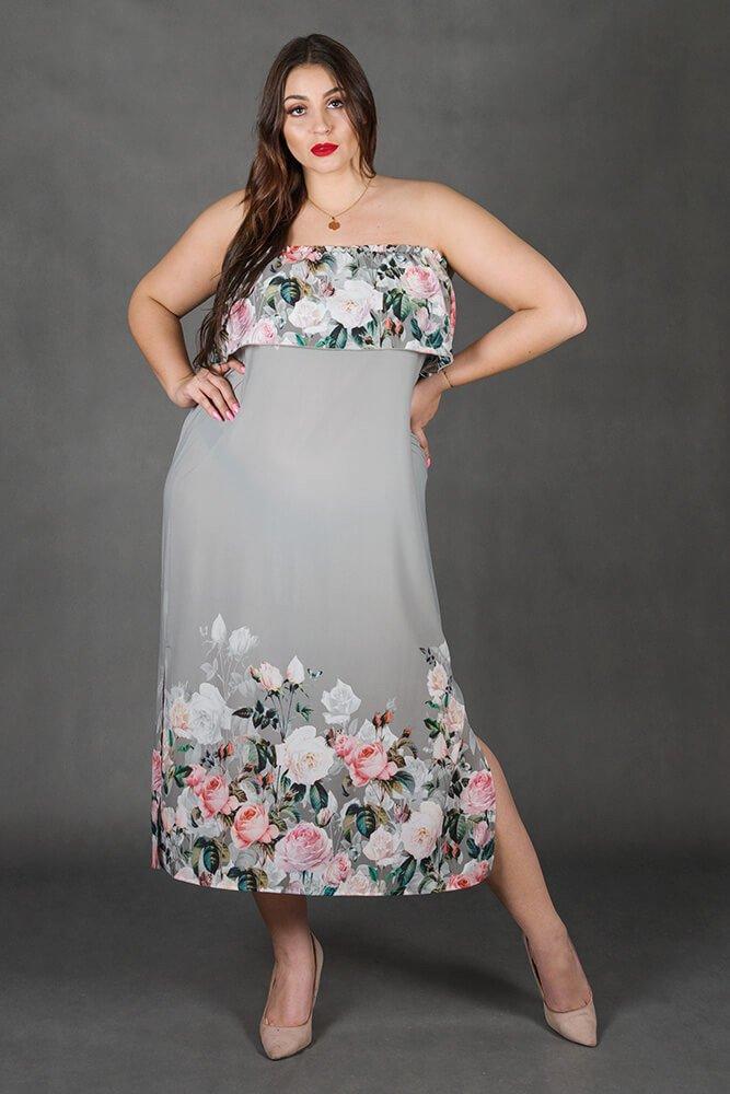 Szara Sukienka LORITA Hiszpanka Kwiaty