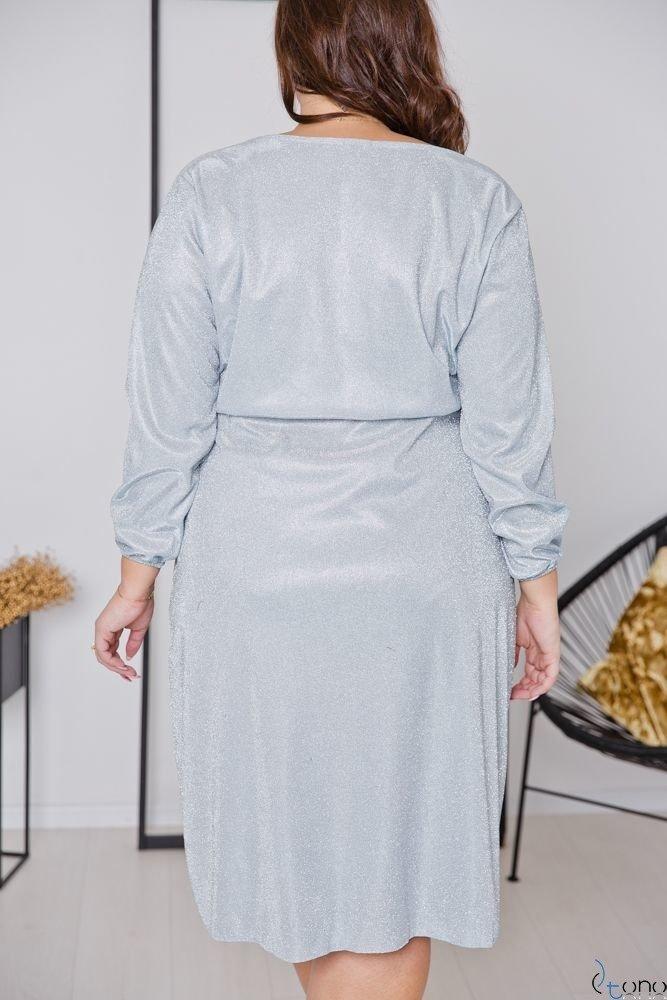 Szara Sukienka MENDY Plus Size