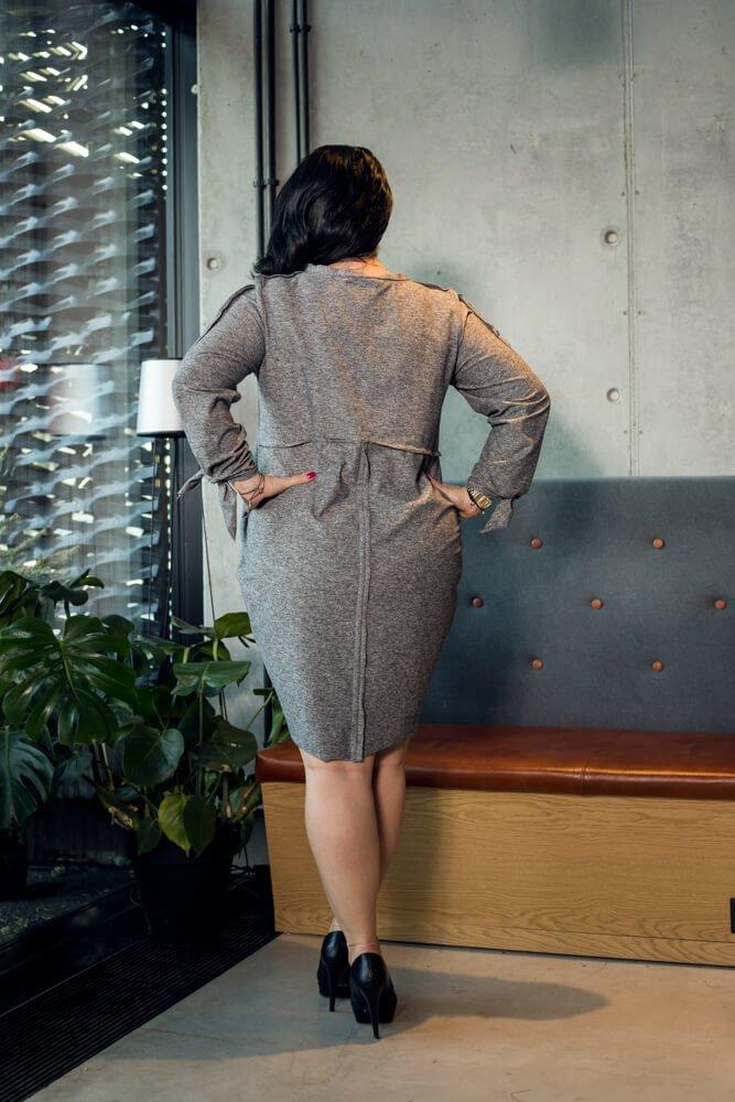 Szara Sukienka  RATELA Tuba Odcinana Duże rozmiary