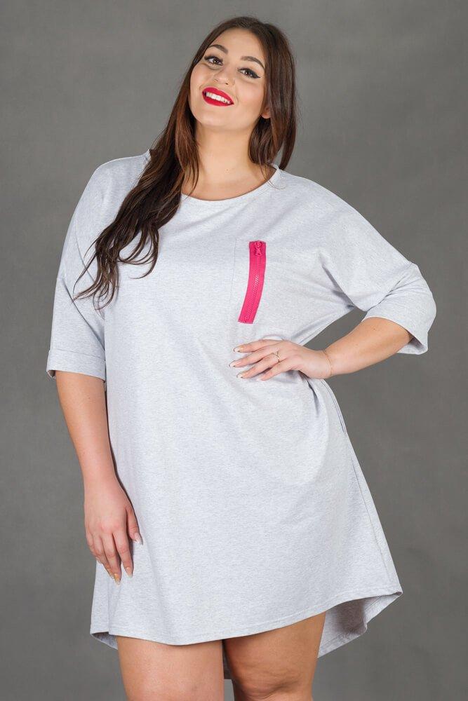 Szara Sukienka VOSTRA Casual Plus Size