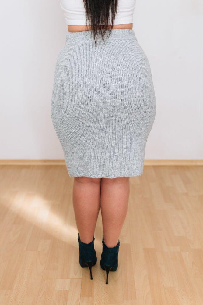 Szary Komplet MARLO Swetrowy Plu Size