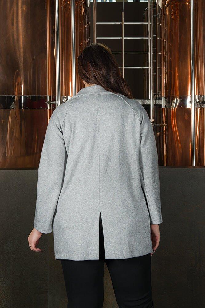 Szary Płaszcz damski CAPRICIA Casual Plus Size