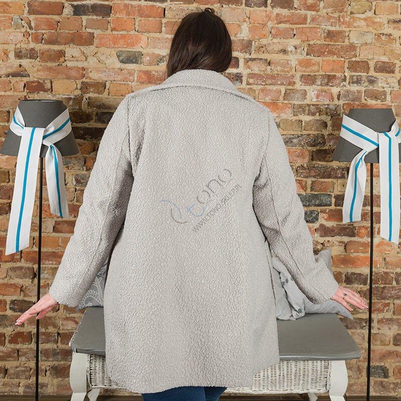 Szary Płaszcz damski FELPA Trapezowy Plus Size