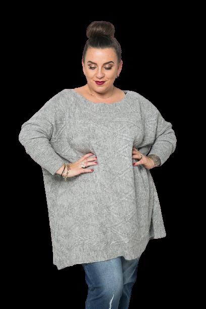 Szary Sweter TRECCIA Plus Size