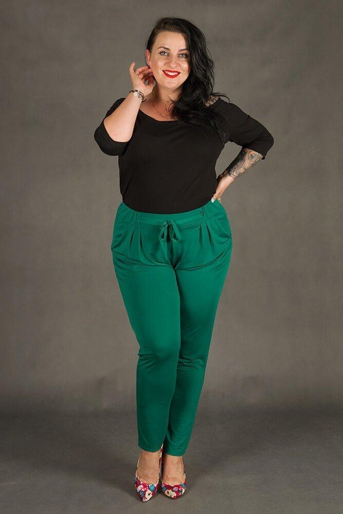 Zielone Spodnie SPOKEY Zwiewne Plus Size